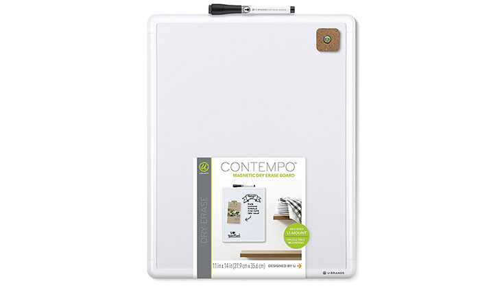 U Brands Contempo Magnetic Dry Erase Board, 11 x 14 Inches, White Frame