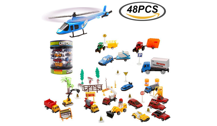 Fun Little Toys Colorful Mini Trailer Tow Truck Vehicle Auto World Value Pack With Durable Container Constriction Farm Set 48pcs