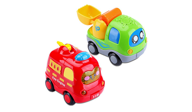 Pull Back Vehicles, ATESSON Cute Pull Back and Go Cars Toy Playset with Eyes Preschool Learning for Toddles Boys Chilldren Birthday Gift 2pcs Pack