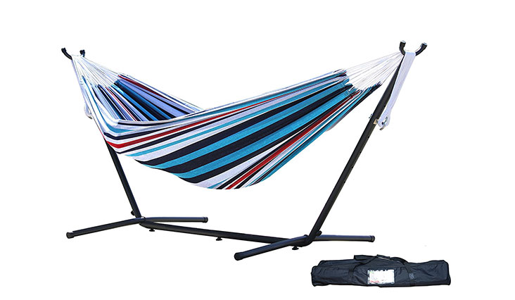 Vivere Double Hammock with Space Saving Steel Stand, Denim
