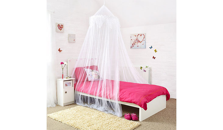 Princess Bed Canopy - Beautiful Silver Sequined Valance
