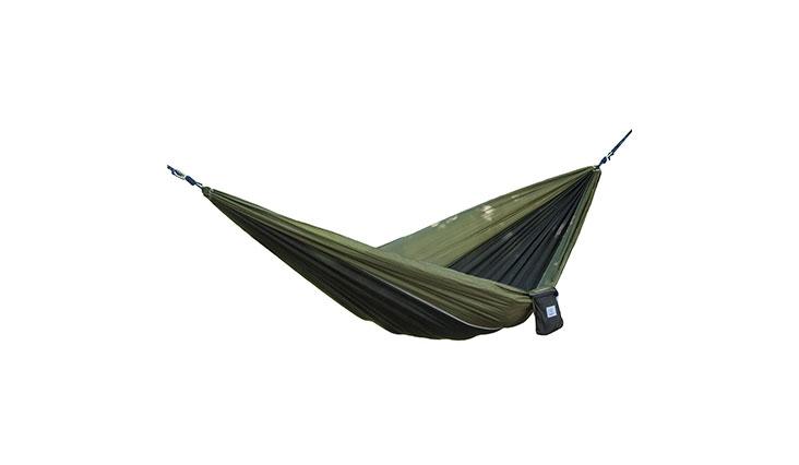 Portable Parachute Nylon Fabric Travel Camping Hammock, Olive & Black