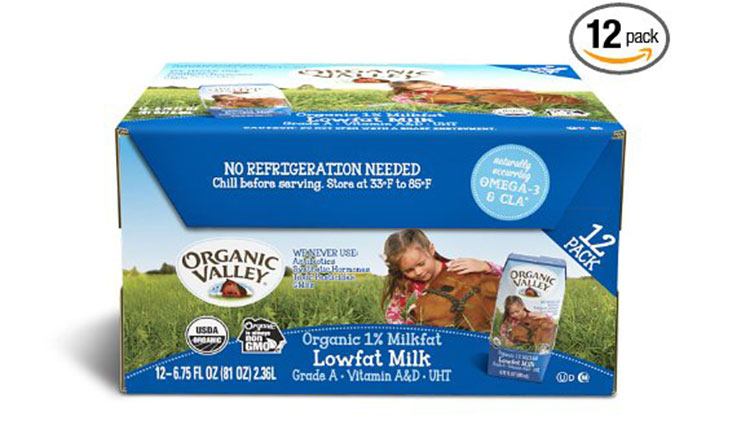 Organic Valley, Organic 1% Plain Low Fat Milk, 6.75 oz (Pack of 12)