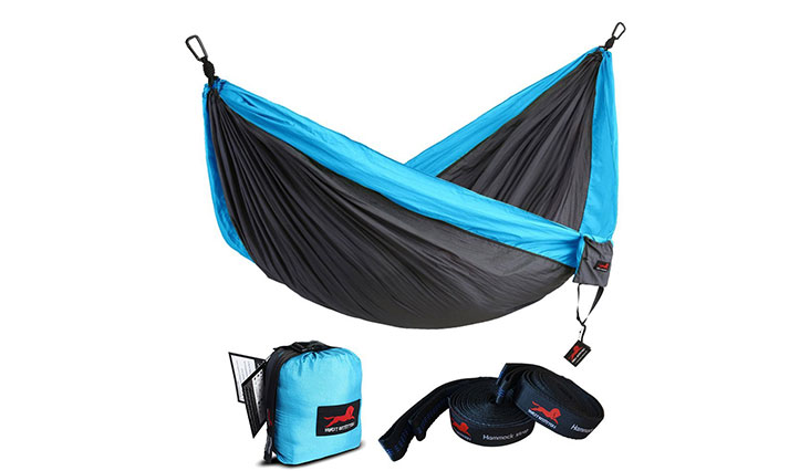 Honest Outfitters Single & Double Camping Hammock, Grey & Blue