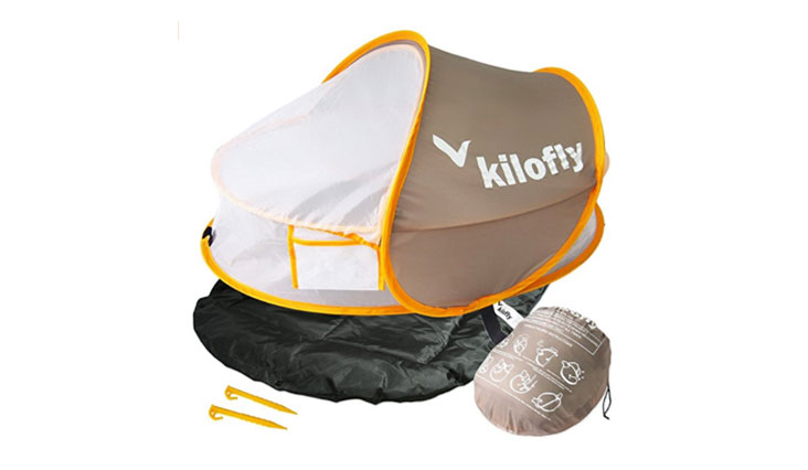kilofly Instant Pop Up Portable UPF 35+ Baby Travel Bed + Sleeping Pad, 2 Pegs