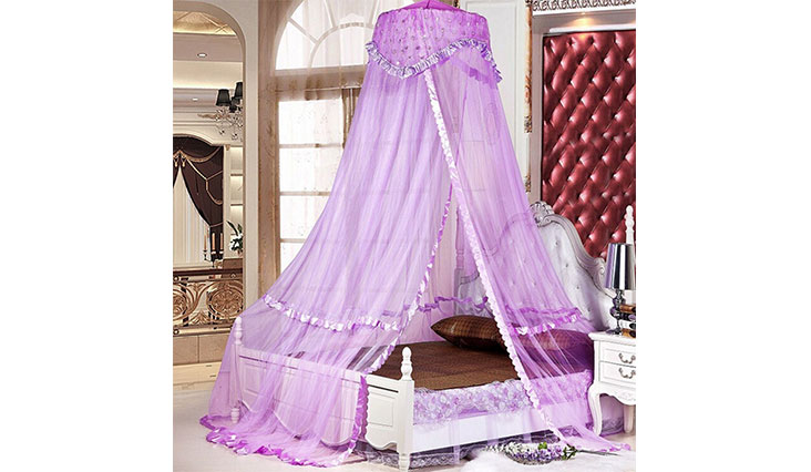 Sinotop Luxury Princess Bed Net Canopy Round Hoop Netting Mosquito Net Bedroom Décor