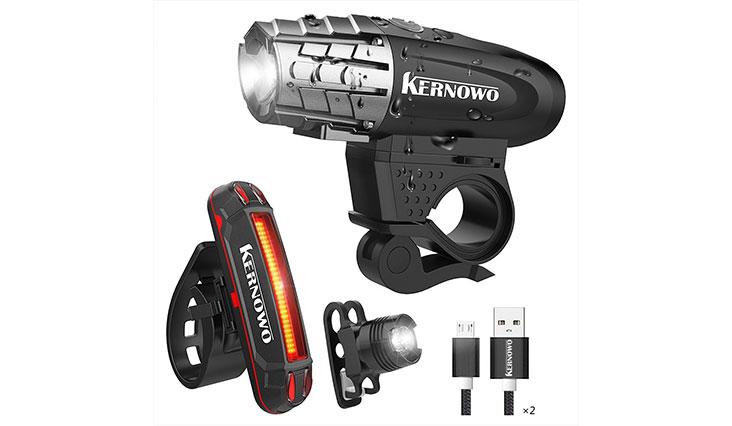 Bike Light, Kernowo USB Rechargeable Bike Light Set