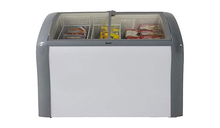 "Avanti CFC83Q0WG 41"" Commercial Convertible Freezer/Refrigerator with 9.3 cu. ft. Capacity, Glass Top Display, 2 Removable Storage Baskets, Adjustable Thermostat, Lock, and Rollers: White"