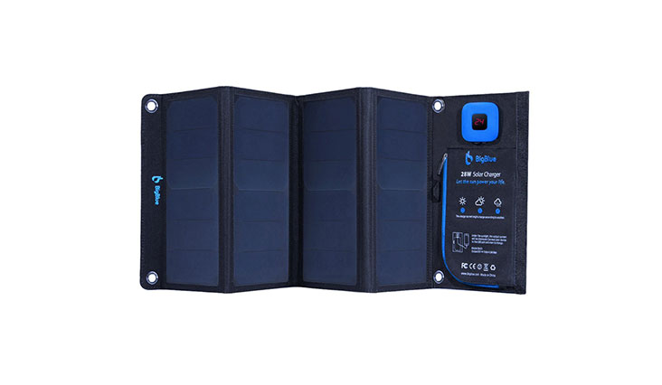 BigBlue New 28W Portable Solar Charger Dual USB Ports with Waterproof Sunpower Solar Panels & Digital Ammeter for Rechargeable USB Devices - iPhone Android GoPro Etc (28W New Version)