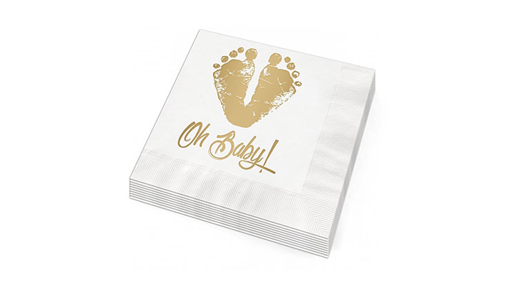 Oh Baby feet Beverage Cocktail Napkins - Set of 25 white paper napkins with gold foil baby feet