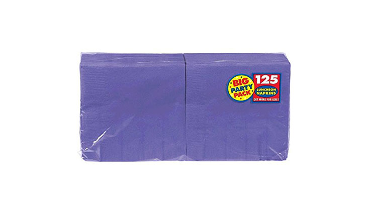 New Purple Big Party Pack - Lunch Napkins, 125 Count, 13in X 13in, 2 ply