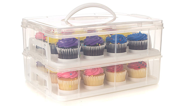 24 Large Cupcake Carrier, Two Tiered Holder, Cake Carrier, Stack and Store Cake Carrier