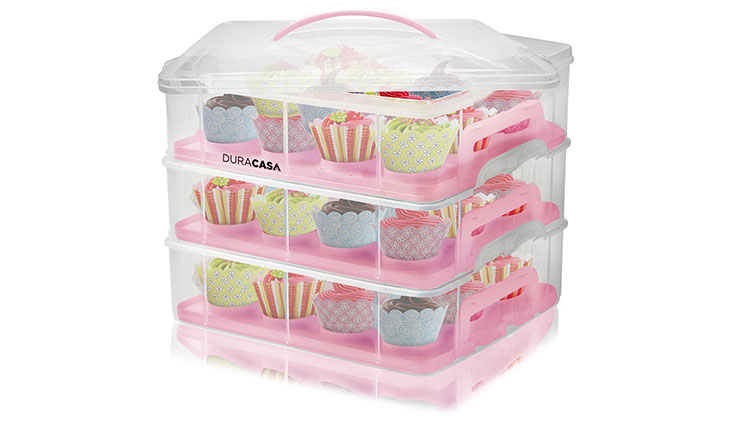 DuraCasa Cupcake Carrier | Cupcake Holder | Store up to 36 Cupcakes or 3 Large Cakes | Stacking Cupcake Storage Container | Cupcake, Cookie, Muffin or Cake Dessert Carrier (3 Tier Pink)