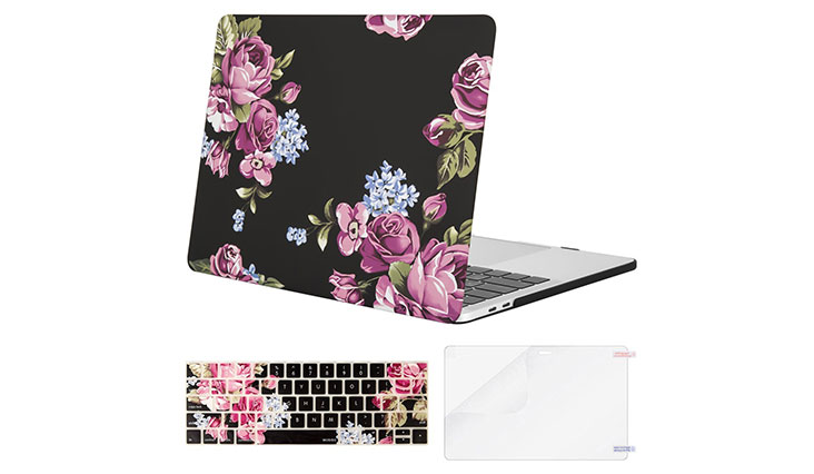 Mosiso MacBook Pro 13 Case 2017 & 2016 Release A1706/A1708, Plastic Pattern Hard Case Shell with Keyboard Cover with Screen Protector for Newest MacBook Pro 13 Inch, Peony