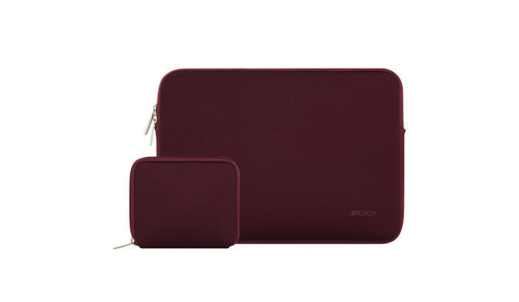 Mosiso Water Repellent Lycra Sleeve Bag Cover for 13-13.3 Inch Laptop with Small Case for MacBook Charger, Wine Red 4.5 out of 5