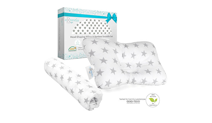 Baby Head Shaping Pillow + Bamboo Swaddle Blanket | Breathable Hypoallergenic Baby Pillow for Sleeping, Newborn Pillow Helps Prevent Flat Head or Plagiocephaly | The Only Infant Pillow Gift Set