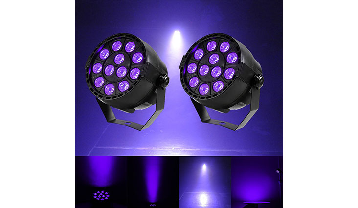 Gledto 2 Pack 36W 12 LEDs DJ Black Light UV LED Bar Wall Washer Light for Stage KTV Party Pub Club Disco Show Concert Celebration,Black