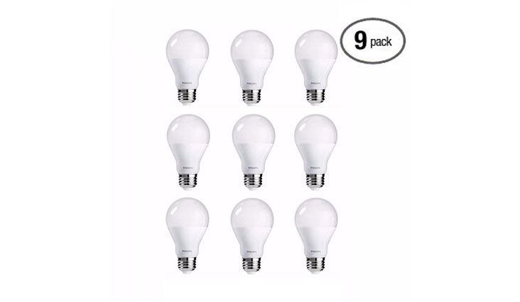 Philips LED Bulb 9 Pack, 60 Watt Equivalent, Soft White (2700K) A19 Dimmable, Medium Screw Base