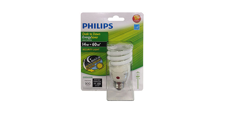 Philips 405852 Energy Saver Compact Fluorescent Dusk-to-Dawn 14-Watt Twister Light Bulb