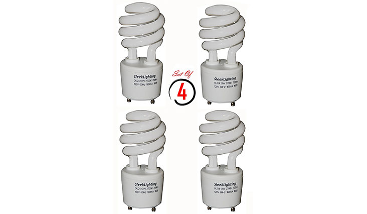 SleekLighting 13Watt T2 Spiral CFL GU24 Light Bulb Base 2700K 700lm ,Compact Fluorescent - 4pack