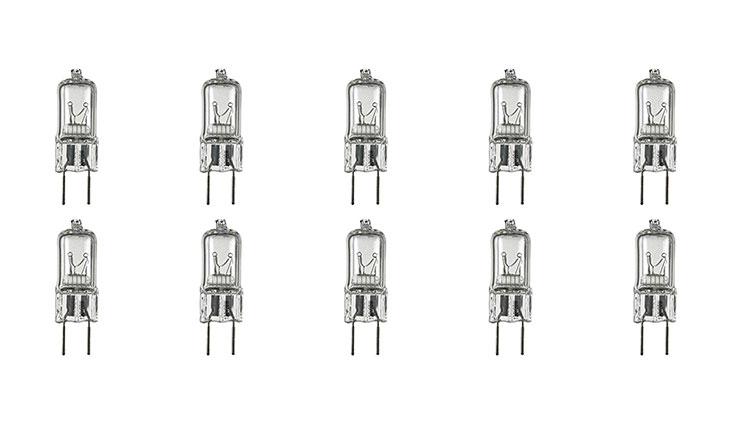 12Vmonster 10 Pack g8 20watt 120v halogen light bulbs JCD Type 110v 130v 20w t4 G8 120 volt