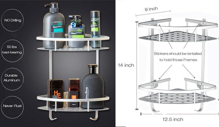 Bathroom Shelf (No Drilling) Durable Aluminum 2 tiers shower shelf Kitchen storage basket Adhesive Suction Corner Shelves Shower Caddy