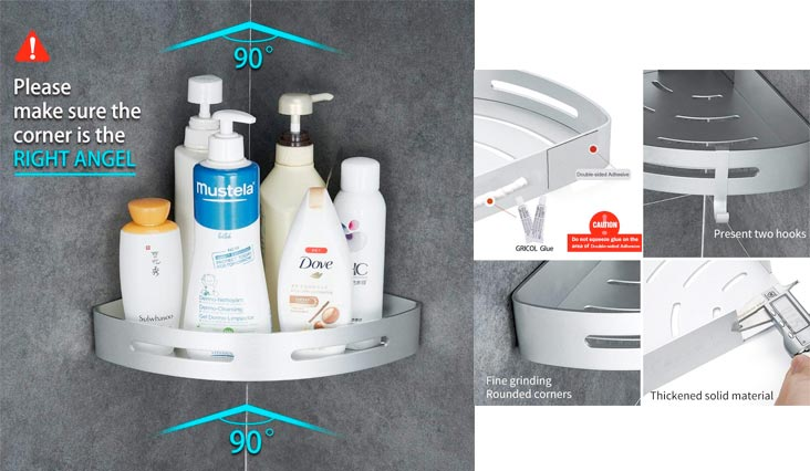 Bathroom Shower Shelf Triangle Wa Caddy Space Aluminum Self Adhesive No Damage Wall Mount (Silver)