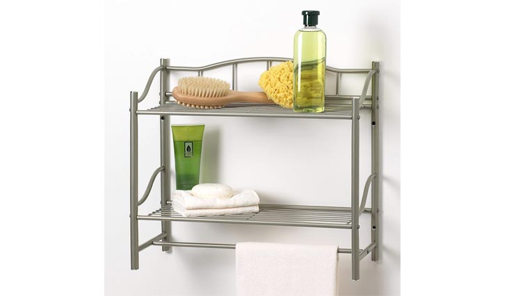 Bath Products Complete Collection 2 Shelf Wall Organizer with Towel Bar, Satin Nickel