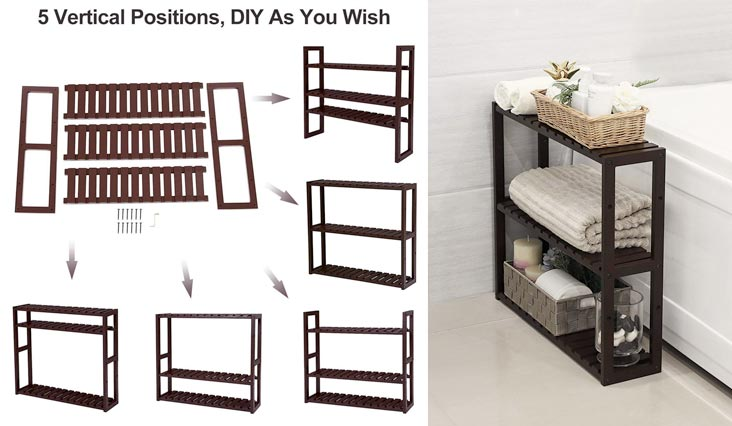 Bamboo Wood 3-Tier Utility Storage Shelf Rack Adjustable layer Bathroom Towel Shelf Multifunctional Kitchen Living Room Holder Wall Mounted Brown