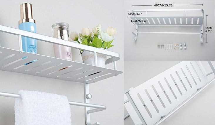 Modern Aluminum Double Layer Towel Bar, Wall Mount Bathroom Storage and One Towel Bar, Bathroom Shelves with 2 Hooks, Towel Holders, Bath Towel Rack, Bath/Kitchen Storage Shelf(40cm/15.7in)
