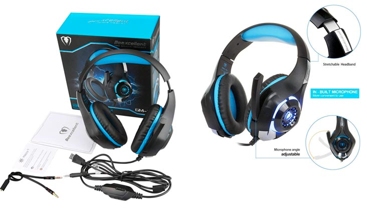 Gaming Headset with Mic for New Xbox One, PS4, PC - Surround Sound, Noise Reduction Game Earphone - Easy Volume Control & LED Lighting - 3.5MM Jack for Smart phone, Laptops, computer