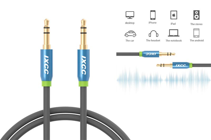 3-Ft Tangle-Free Male to Male 3.5mm Auxiliary Audio Cables with Gold Plated Connectors for Apple, Android Smartphones, Tablet and MP3 Players - Standard Packaging