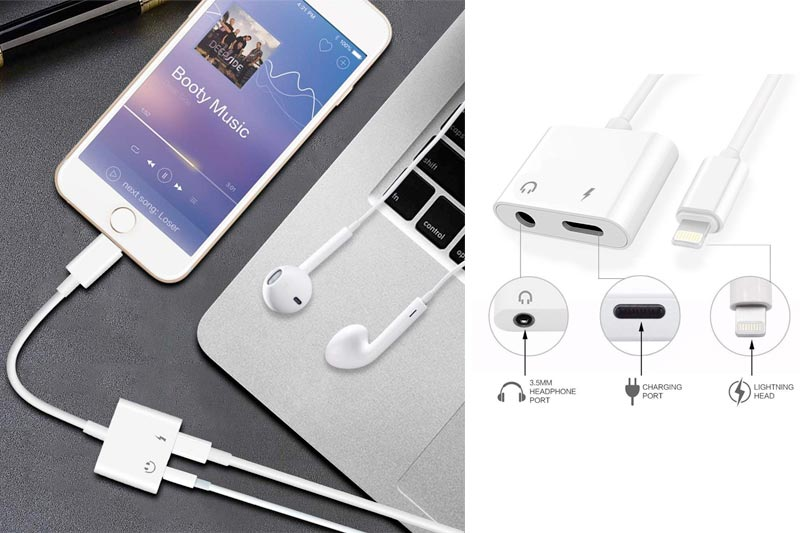Lightning to 3.5mm Aux Headphone Jack Audio Adapter for iphone 7/8/X/7 plus/8 plus (Support iOS 10.3, iOS 11), Cone 2 in 1 Lightning Adapter and Charger (White)