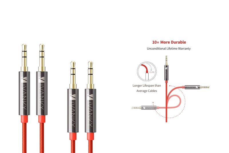 AUX Cable [2-Pack, 4ft/1.2M - Copper Shell, Hi-Fi Sound Quality] - iVanky Nylon Braided 3.5mm Male to Male Aux Cord for Car Stereos, Smartphones, iPod, Speakers and More - Red