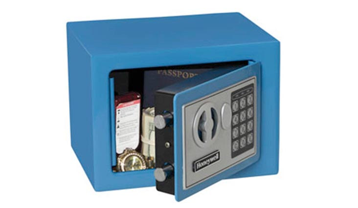 Steel Security Safe with Digital Lock, 0.17-Cubic Feet, Blue