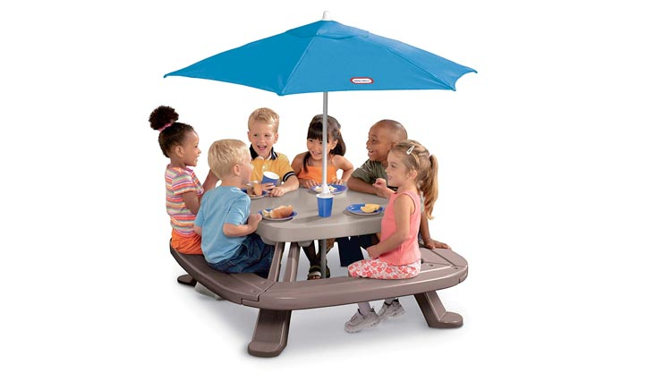 Fold 'n Store Picnic Table with Market Umbrella