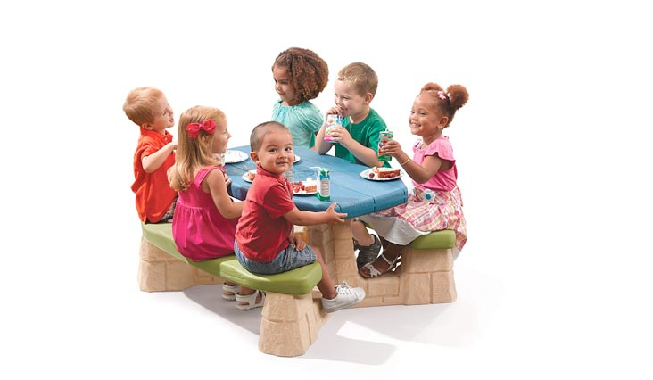 Naturally Playful Kids Picnic Table With Umbrella