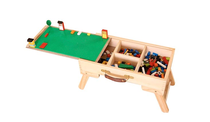 Wooden Multi-Activity Table Folding Custom Preassembled Play Table with Storage and Carry Handle