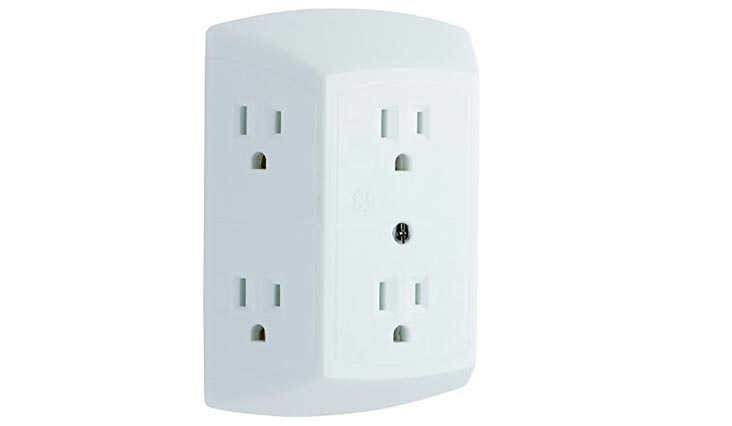 GE Grounded 6-Outlet Wall Tap with Adapter Spaced Outlets, Easy-to-Install, UL Listed, White