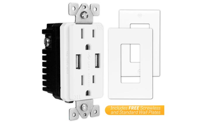 White 2 Pack 4A High Speed Dual USB Charger Outlet, USB Outlet, Wall Plates Included