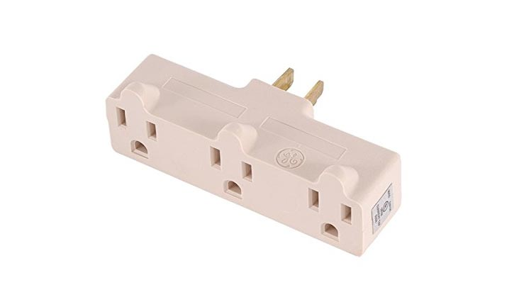 Heavy Duty 3-Grounded Outlet Adapter, Light Almond