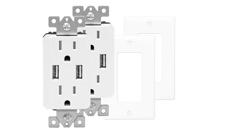 Wall Outlet with USB, Dual USB Charger Outlet, USB Receptacle, USB Wall Outlet, 15A Tamper-Resistant Duplex Receptacle, Wall Plates Included, White (Pack of 2)