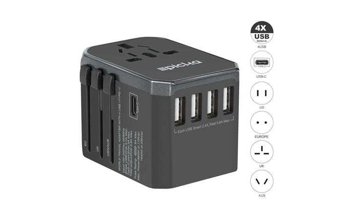 Universal Travel Power Adapter - EPICKA All in One Worldwide International Wall Charger AC Plug Adaptor with 5.6A Smart Power USB and 3.0A USB Type-C For USA EU UK AUS Cell Phone Tablet Laptop (Grey)