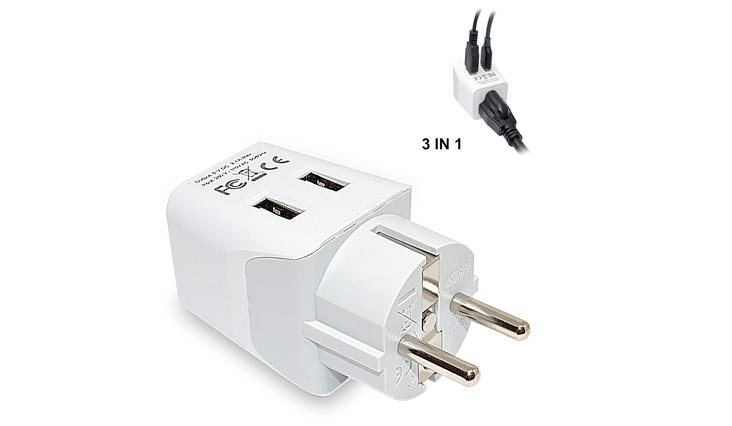 Ceptics CTU-9 USA to Schuko Germany, France, Russia Travel Adapter Plug With Dual USB - Type E/F - Ultra Compact