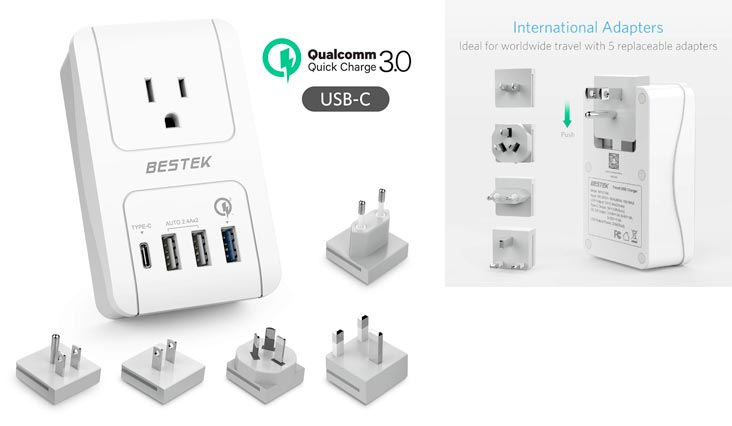 Travel Adapter Kits by BESTEK - Dual 2.4A Smart Identify USB Ports + 1 Qick Charge 3.0 USB Port + 1 USB C Port + 1 AC Outlet Wall Charger with Worldwide Wall Plugs for UK, US, AU, Europe & Asia
