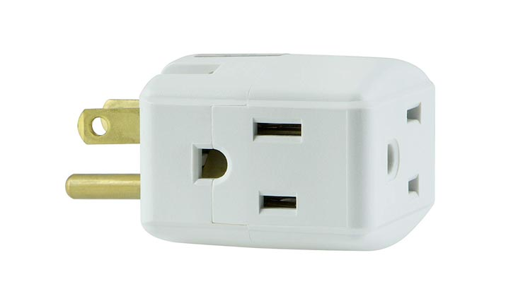 GE Grounded 3-Outlet Tap, Travel Adapters