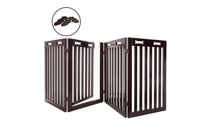 "Arf Pets Free Standing Wood Dog Gate with Walk Through Door, Expands Up To 80"" Wide, 31.5"" High - BONUS Set of Foot Supporters Included"