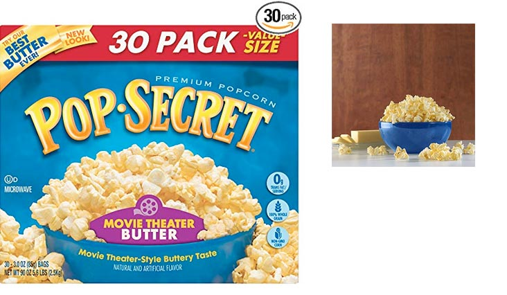 Pop Secret Popcorn, Movie Theater Butter, 3 Ounce Microwave Bags, 30 Count
