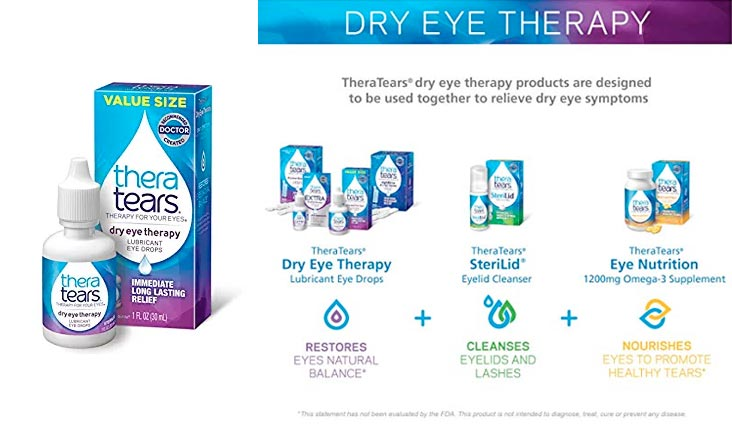 TheraTears Eye Drops for Dry Eyes, Dry Eye Therapy Lubricant Eyedrops, 1FL OZ (30mL)