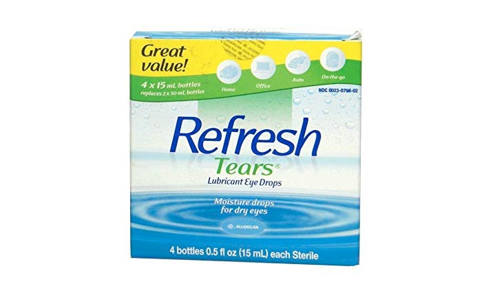 Refresh Tears Lubricant Eye Drops, Moisture Drops for Dry Eyes. 4- .5 fl oz. bottles
